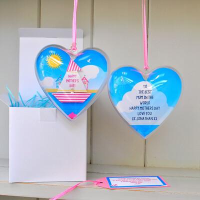 Personalised Message Sail Boat Hanging Heart Keepsake