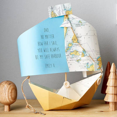 Personalised Nautical Chart Paper Boat Card