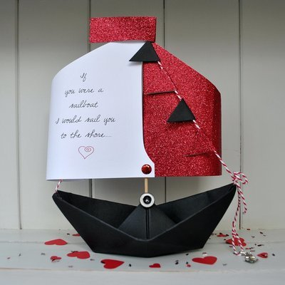 Valentine's Personalised Sailing Boat Card Gift