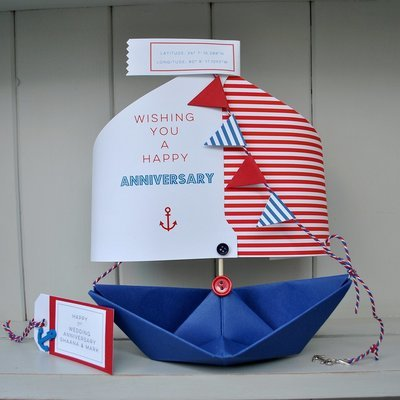 'Wishing You A Happy Anniversary' Paper Boat Card