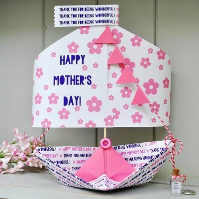 Bespoke Personalised  Mother's Day Paper Boat Sailboat Card