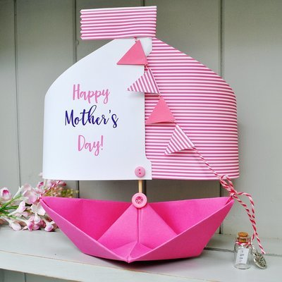 Mother's Day Paper Boat Card Keepsake