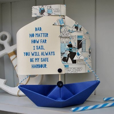 Comic Book Personalised  Paper Boat Card