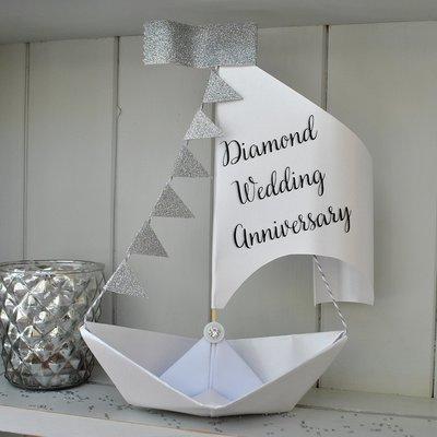 60th Diamond Wedding Anniversary Sail Boat Card