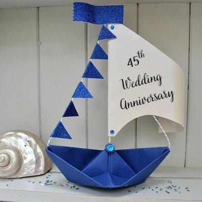 45th Sapphire Wedding Anniversary Sail Boat Card