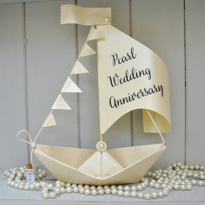 30th Pearl Wedding Anniversary Sail Boat Card