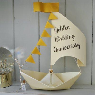 50th Golden Wedding Anniversary Sail Boat Card