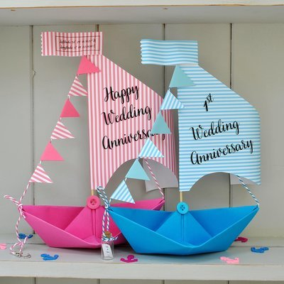 Personalised Anniversary Sail Boat Card