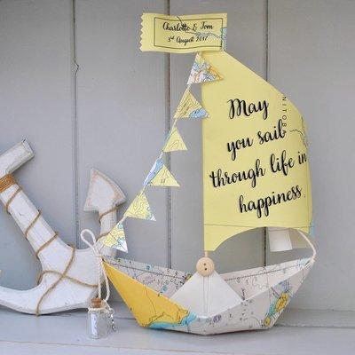 Personalised Wedding Sail Boat Card