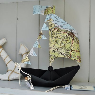 Coastal Map Sail Boat Card