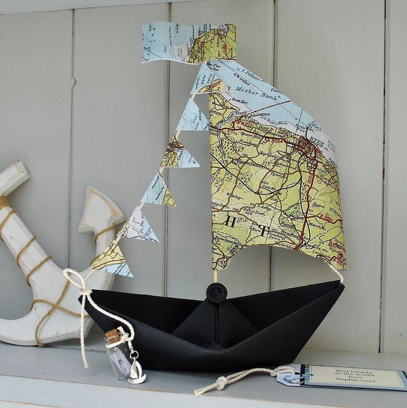 Coastal Map Sail Boat Card