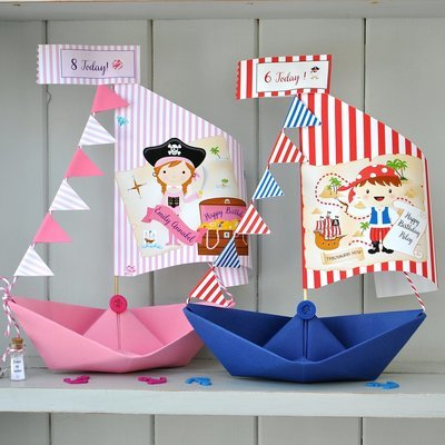 Personalised Pirate Birthday Sail Boat Card