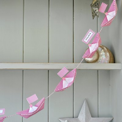 Personalised Flag Paper Boat Bunting Garland