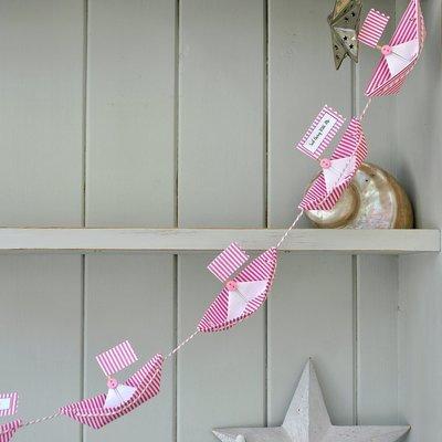 Personalised Flag Paper Boat Bunting Garland