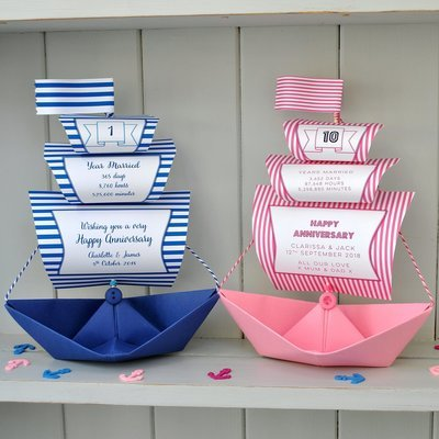 Personalised Anniversary Galleon Sail Boat Card