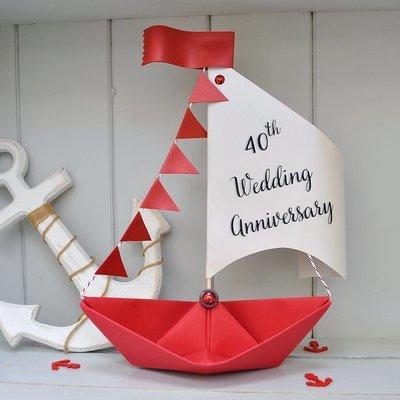 40th Ruby Wedding Anniversary Sail Boat Card
