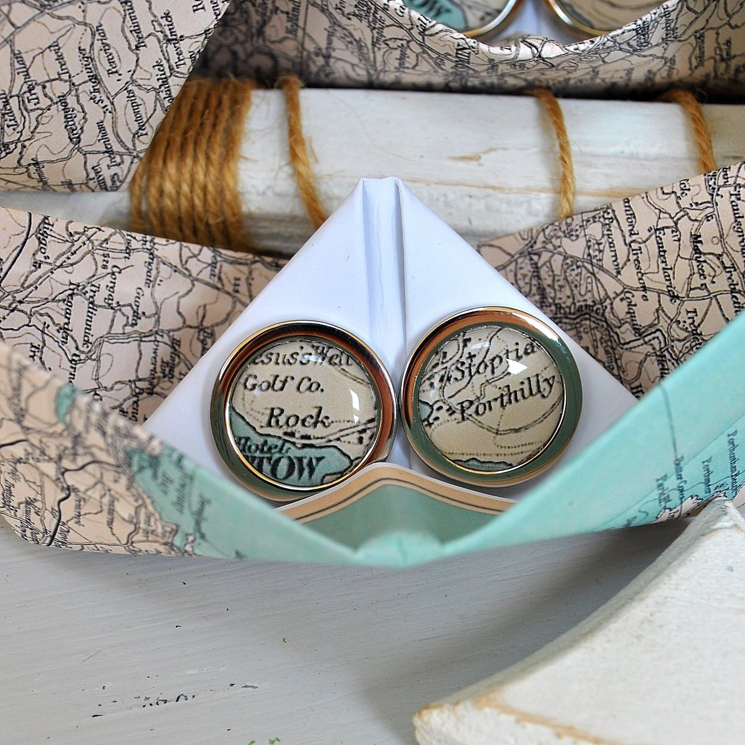 Personalised Coastal Map Cufflinks In Paper Boat