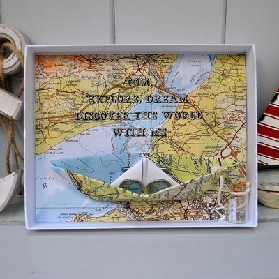 Personalised Coastal Map Cufflinks Message Box