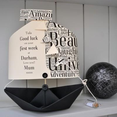 Word Cloud Sail Paper Boat Card Keepsake Gift