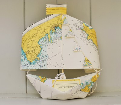 Nautical Chart Paper Boat Keepsake