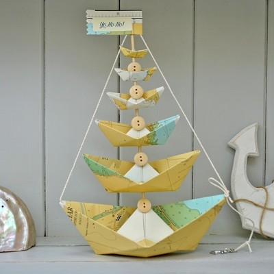 Nautical Chart Paper Boat Tree