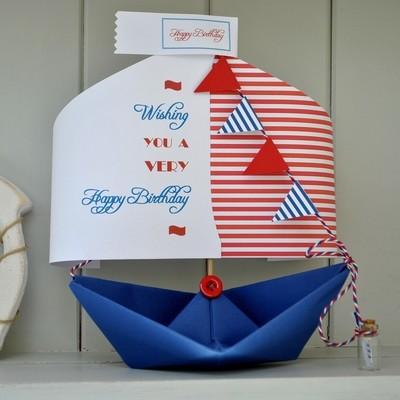 Happy Birthday Paper Boat Card Gift Keepsake