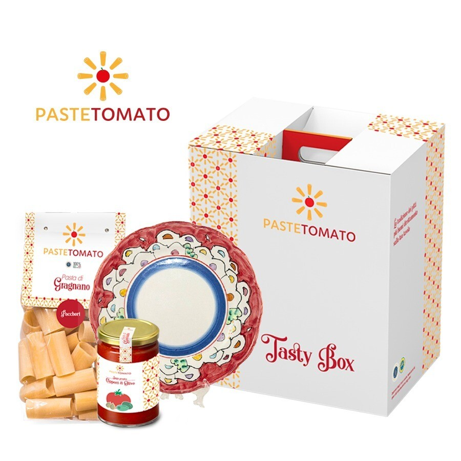 Box Platinum Pasta and Tomato 100% Made in Italy + set Ceramic