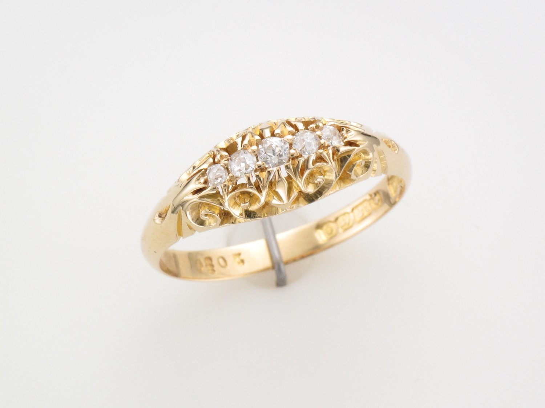 Ladies 18 Carat Five Stone Victorian Diamond Ring