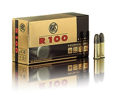 RWS R-100 Ammunition 22 Long Rifle 40 Grain Lead Round Nose. Box of 50