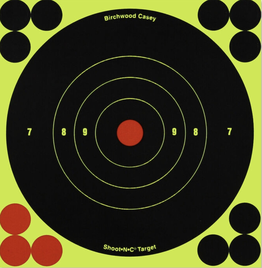 "Birchwood Casey Shoot-N-C 6"" Bull's Eye Self-adhesive Reactive Paper Target Indoor/Outdoor Repair Pasters 60 Pack"
