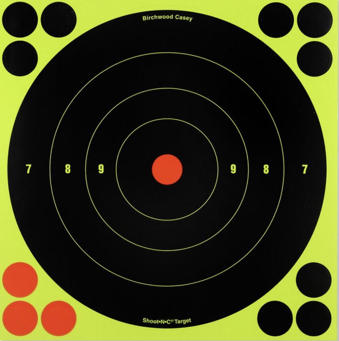 """Birchwood Casey Shoot-N-C Targets 8"""" Round Bull's Eye, 30 pack"""