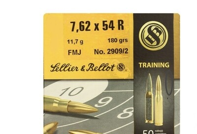 Sellier & Bellot FMJ Ammunition 7.62X54 R 180 grain Full Metal Jacket box of 50