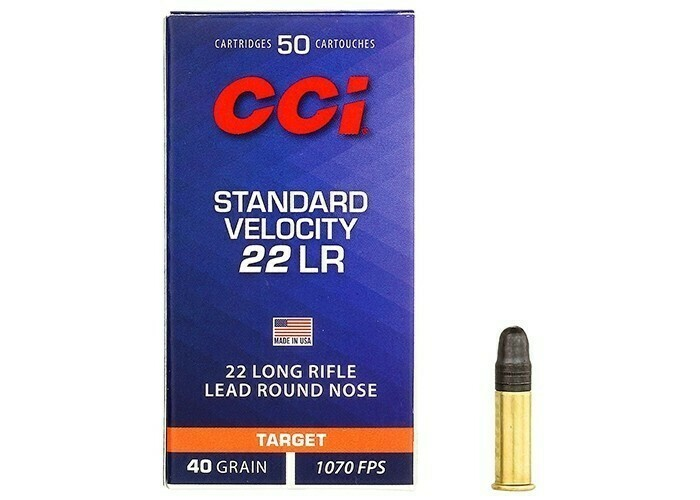 CCI Standard Velocity Ammunition 22 Long Rifle 40 Grain Lead Round Nose Box of 50