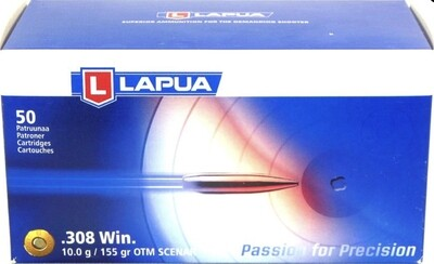 Lapua Ammo 308 155 Grain Hollow Point Boat Tail Scenar (50)