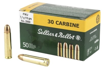 30 Carbine Sellier & Bellot 110gr. 7,1g FMJ Ammo. 50rds -