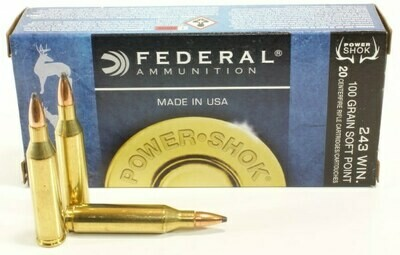 Federal Ammunition Power•Shok Rifle 243 Win  100 grain, Pack 20 Rounds