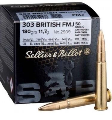Sellier & Bellot 303 British, Full Metal Jacket 180 grain box of 50