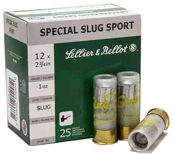 "Sellier & Bellot Ammunition 12 Gauge 2-3/4"" 1 oz Special Sport Slug Box of 25"