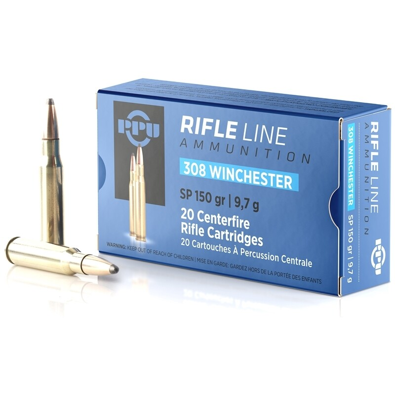 Prvi Partizan 308 Winchester Ammo 150 Grain Soft Point, Box of 20 rounds