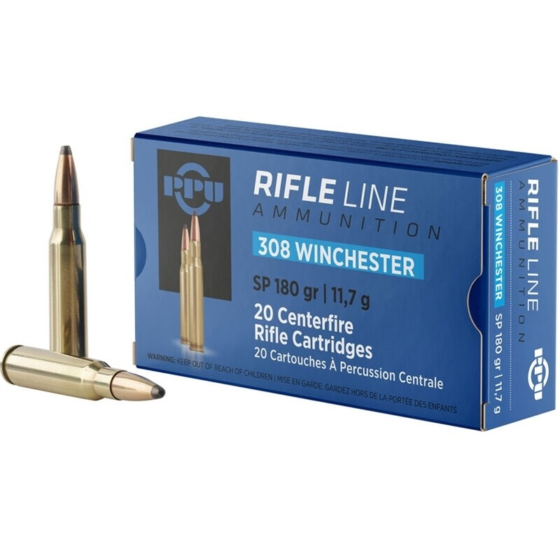 PRVI PARTIZAN 308 WINCHESTER AMMO 180 GRAIN POINTED SOFT POINT-PP3083, Box of 20 rounds