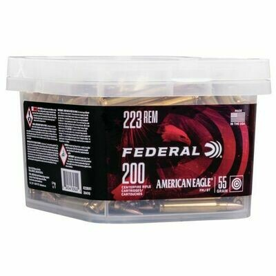 Federal American Eagle 223 Rem 55gr FMJ BT 200rd Bucket