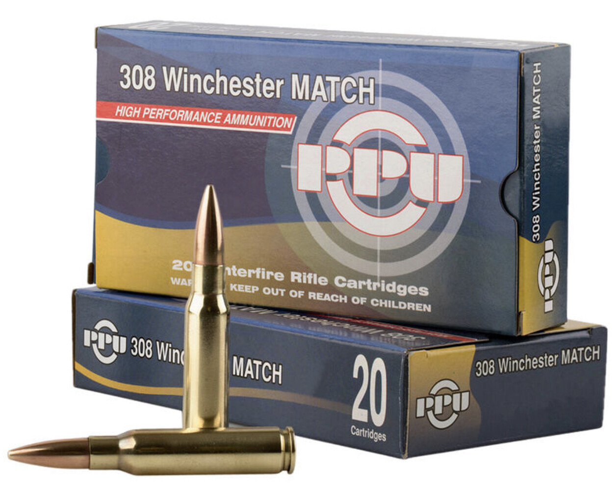 Prvi Partizan PPU Match .308 Win Ammunition 20 Rounds 168 Grain HPBT 2720fps