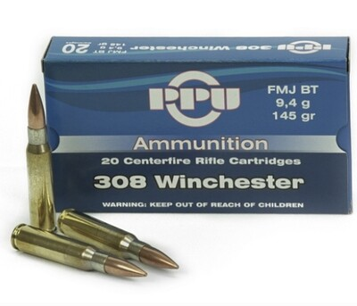 PPU 308 Winchester 145gr FMJ BT Box of 20 rounds