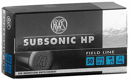 RWS Subsonic Rimfire Rifle Ammunition .22 Long Rifle, Lead Hollow Point (HP), 40 GR, 1000 fps, 50 Rd/bx