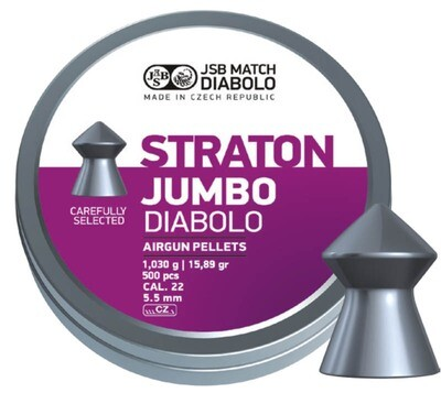 JSB Diabolo Straton Jumbo 15.89gr cal .22 (5.55mm) Tin of 500 pellets