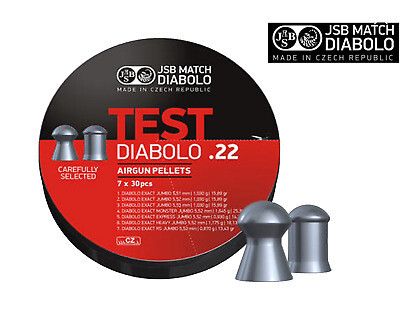 JSB Match Diabolo Test 7x30 Pellets .22 5.5mm Air Rifle Target Hunting Shooting
