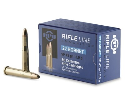 PPU .22 HORNET 45GR SP Box of 50 rounds