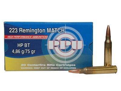 PPU .223 Rem. 75 grain Premium Match HPBT Box of 20 rounds