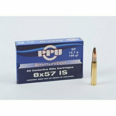 PPU 8x57 IS 196gr SP Ammunition Box of 20 rounds