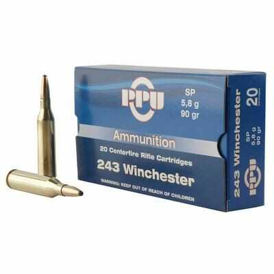 Prvi Partizan PPU .243 Winchester Ammunition 90gr  Soft Point box of 20 rounds 3100fps
